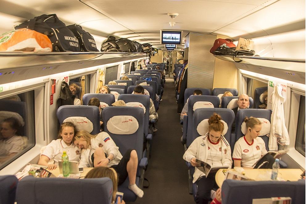 В вагоне эконом-класса поезда Сапсан