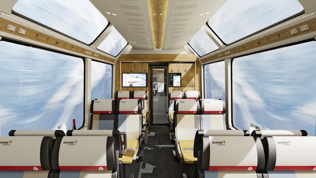 Интерьер вагона 2 класса поезда Glacier Express