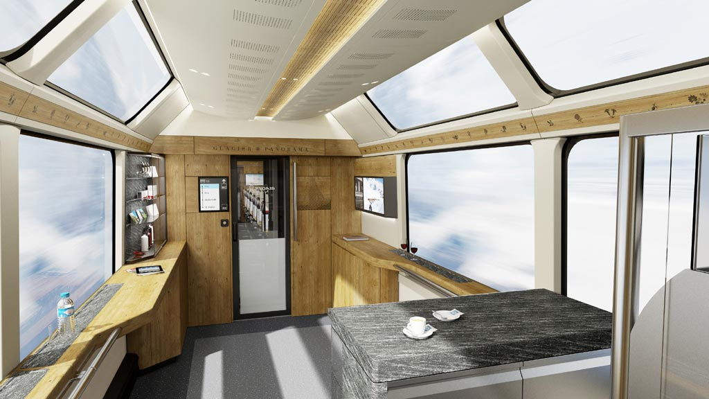 Бистро в вагоне 1 класса поезда Glacier Express