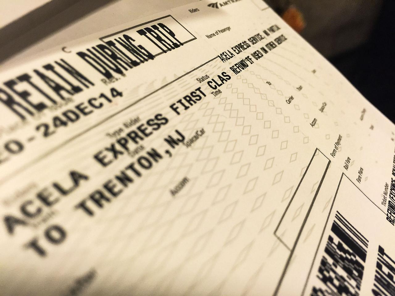 Билет на поезд Acela Express