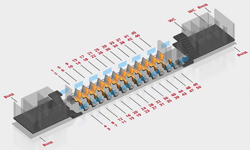 Схема вагона поезда Воронеж-Москва: 2 класс 1 этаж