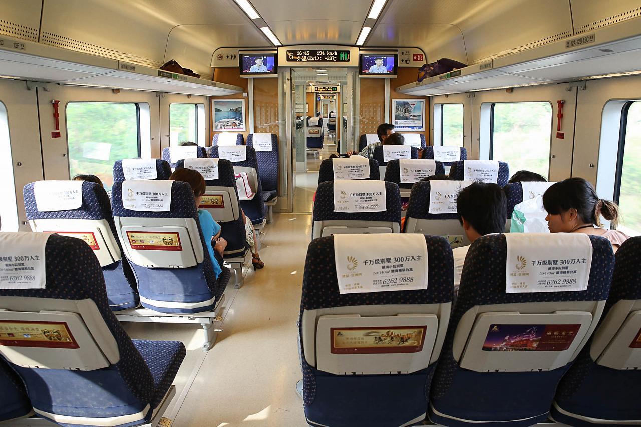 Фото вагона китайского скоростного поезда CRH1A