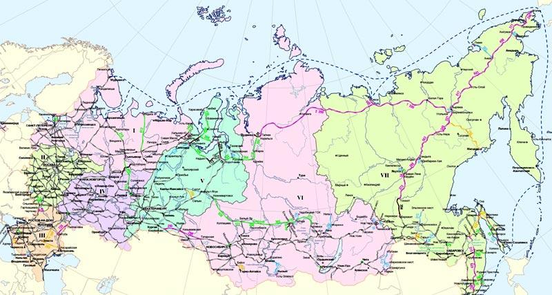 Карта российских железных дорог
