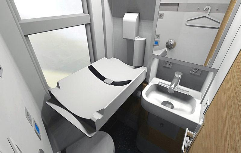 Пеленальный столик в новом плацкартном вагоне РЖД