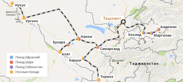 Карта основных железных дорог Узбекистана