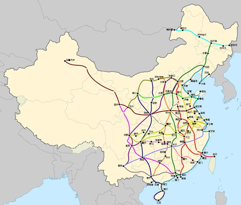 Карта высокоскоростных железных дорог Китая