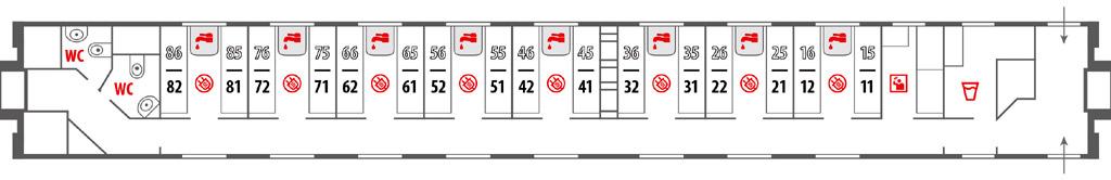 Схема купейного вагона в поездах Москва-Ницца и Москва-Париж