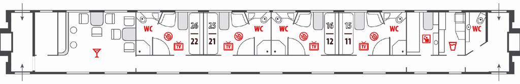 Схема вагона Люкс в поездах Москва-Ницца и Москва-Париж