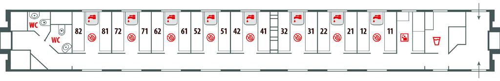 Схема вагона СВ в поездах Москва-Ницца и Москва-Париж