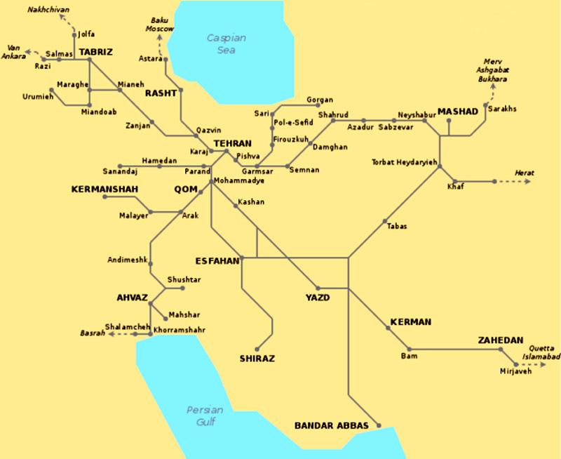 Карта железных дорог Ирана