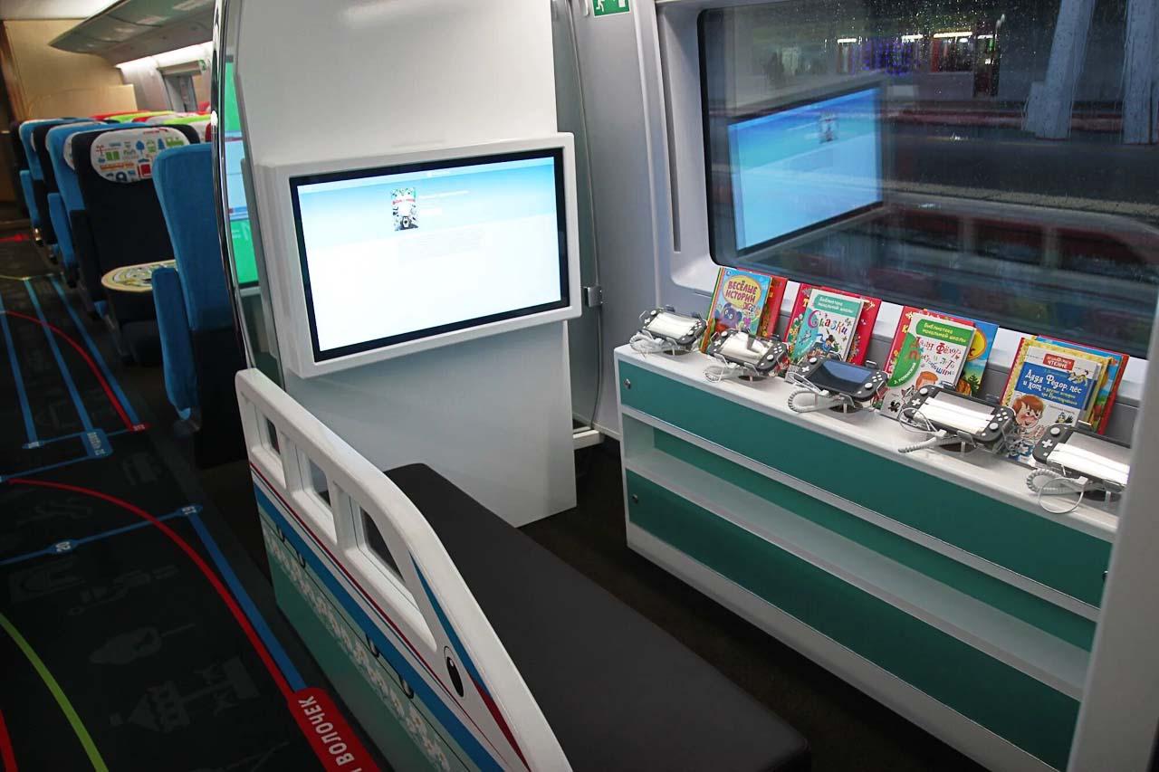 """Детская игровая зона с интерактивными мониторами в семейном вагоне поезда """"Сапсан"""""""