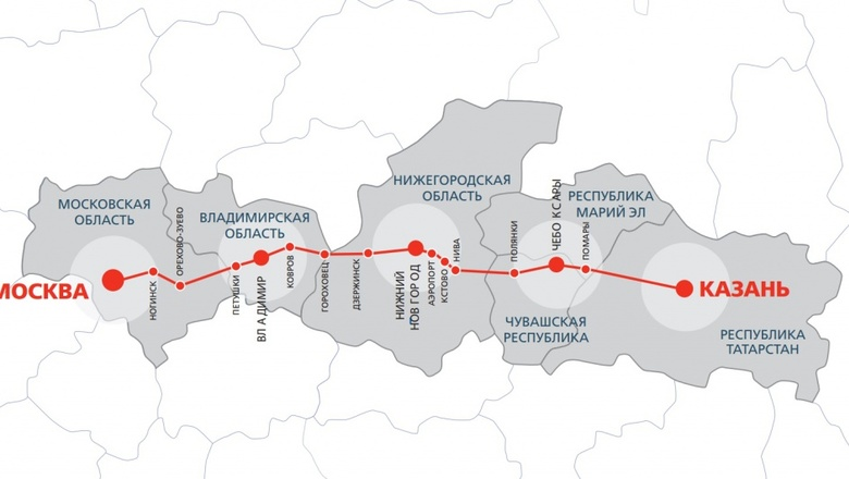Схема маршрута ВСМ Москва-Казань